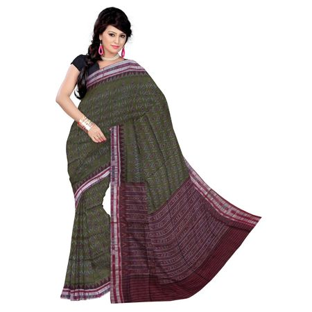 OSS4002: Orissa olive color handloom cotton saree for office wear.