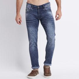 Stylox Men Slim Fit Mid Rise Blue Whisker Jeans-5018, 32