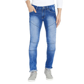 Stylox Men's Slim Fit Mid Rise Stretchable Cloud Washed Dark Blue Jeans-DNM-CLDB-4117-02, 30