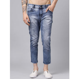 Stylox Men Blue Slim Fit Stretchable Mid Rise Washed Ankle Length Jeans-DNM-ANKL-CLDL-4134-01, 36