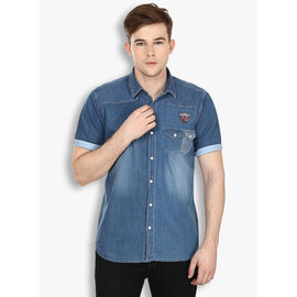 Stylox Men's Solid Casual Blue Shirt(214), 46