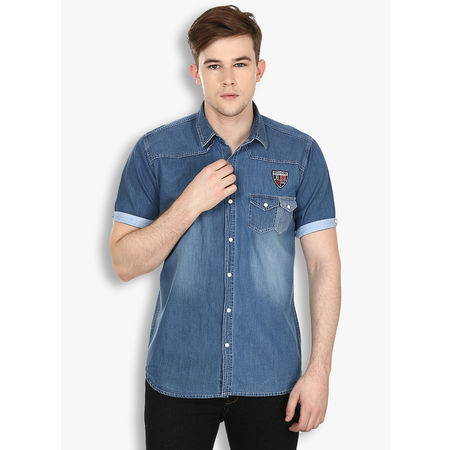 Stylox Men s Solid Casual Blue Shirt(214), 46