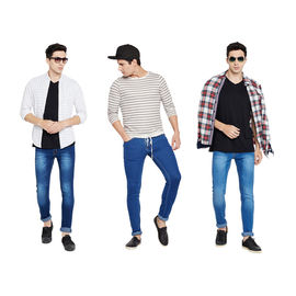 Stylox Men's Combo 3 MultiColor Slim Fit Jeans-DNM-COMBO3-1012-1013-1001, 28