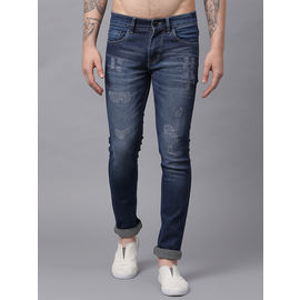 Stylox Men Mid Rise Blue Damaged Jeans-DNM-DBSPRY-4146-04, 30