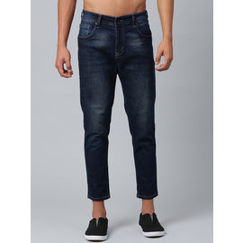 Stylox Men's Mid Rise Washed Whisker Ankle Length Dark Blue Jeans-DNM-ANKL-BRT-4134-05, 30