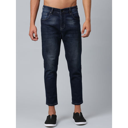 Stylox Men s Mid Rise Washed Whisker Ankle Length Dark Blue Jeans-DNM-ANKL-BRT-4134-05, 30