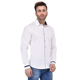 Stylox Men's Solid Casual White Shirt -SHT-P-WHT-057, l
