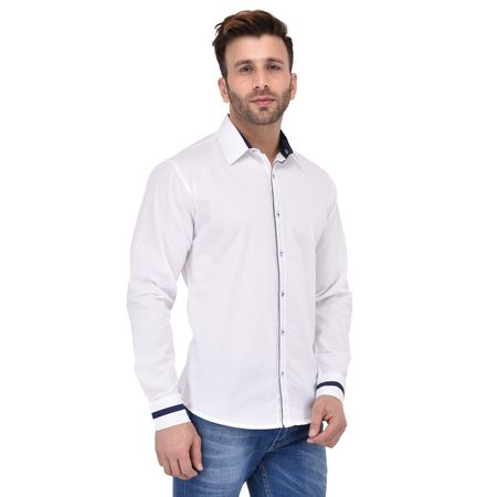 Stylox Men s Solid Casual White Shirt -SHT-P-WHT-057, l