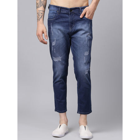 Stylox Men Blue Slim Fit Mid Rise Casual Wear Damaged Ankle Length Jeans-DNM-ANKL-DBDMG-4134-04, 34