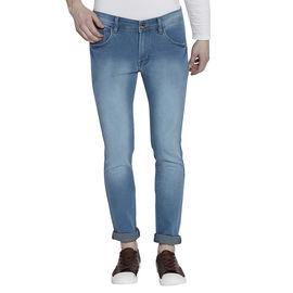 Stylox Men's Stylish Premium Stretchable Slim Fit Mid Rise Light Shaded Cyan Jeans-DNM-CYN-4091, 34