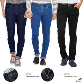 Stylox Men's Slim FIt Regular Wear Multicolor Jeans- Pack Of 3-COMBO3-1001-1002-1003, 30