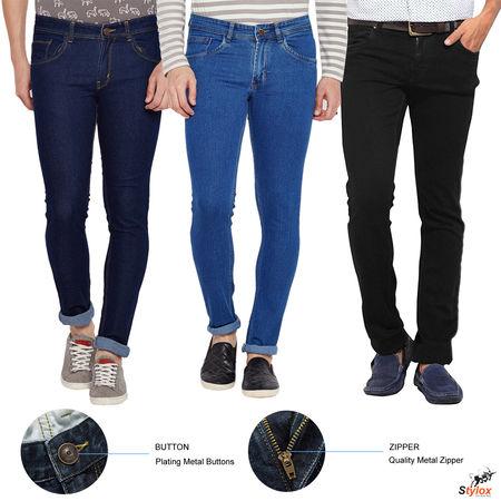 Stylox Men s Slim FIt Regular Wear Multicolor Jeans- Pack Of 3-COMBO3-1001-1002-1003, 30
