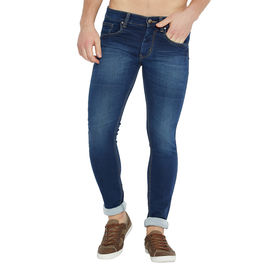 Stylox Men's Premium Stretchable Slim Fit Whisker Washed Blue Jeans-DNM-BLT-4089-01, 34