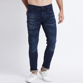 Stylox Men Slim Fit Mid Rise Laser Washed Dark Blue Jeans-5211006, 32