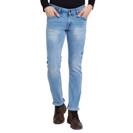 Stylox Men's Premium Stretchable Slim Fit Mid Rise Light Shaded Jeans-DNM-IBLB-4070, 34