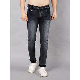 Stylox Men Slim Fit Mid Rise Black Washed Jeans-56101032, 28