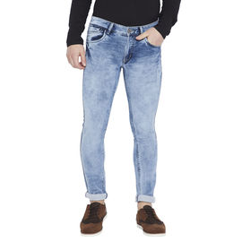 Stylox Men's Ice Blue Slim Fit Washed Stretchable Jeans-DNM-CLDB-4087-02, 30