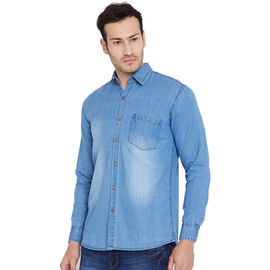 Stylox Men's Denim Blue Casual Slim Fit Shirt-SHT-BLUE-1065, m