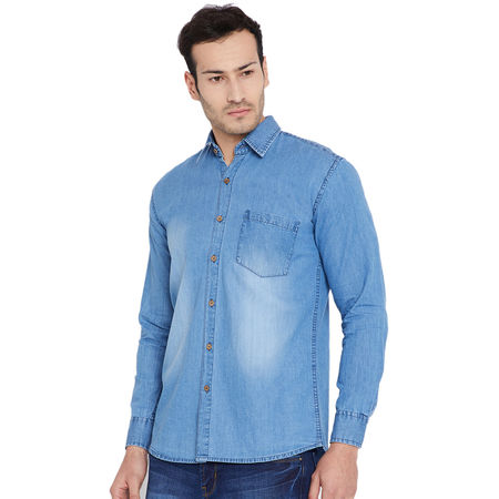 Stylox Men s Denim Blue Casual Slim Fit Shirt-SHT-BLUE-1065, m