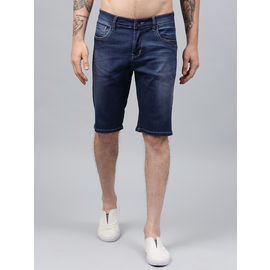 Stylox Men Blue Whisker Stretchable Denim Shorts-SHORT-LBW-4140-03, 28