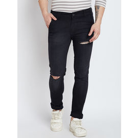 Stylox Premium Men's Stretchable Slim Fit Black Distressed Damaged Jeans-DNM-CRSLT-4108-02, 36