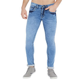 Stylox Men's Premium Stretchable Slim Fit Whisker Washed Light Blue Jeans-DNM-LB-4118-01, 28