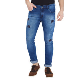 Stylox Men's Premium Stretchable Slim Fit Whisker Washed Patch Work Blue Jeans-DNM-SCBX-4122, 30