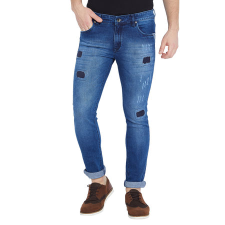 Stylox Men s Premium Stretchable Slim Fit Whisker Washed Patch Work Blue Jeans-DNM-SCBX-4122, 30
