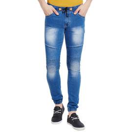 Stylox Men's Premium Stretchable Slim Fit Mid Rise Shaded Light Blue Jogger-JGR-LB-9007, 36