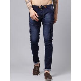 Stylox Men Blue Slim Fit Stretchable Mid Rise Washed Jogger-DNM-JGR-BLU-4133-01, 32
