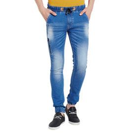 Stylox Men's Premium Stretchable Slim Fit Mid Rise Shaded Light Blue Jogger-JGR-LB-9008, 36