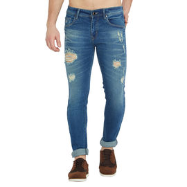 Stylox Men's Premium Stretchable Slim Fit Whisker Washed Blue Distressed Damaged Jeans-DNM-BLD-4132-02, 34