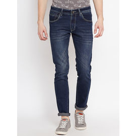 Stylox Premium Men's Stretchable Slim Fit Blue Tint Wahsed Jeans-DNM-BRT-4080-02, 36