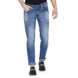 Stylox Men's Stylish Premium Stretchable Slim Fit Mid Rise Light Shaded Light Blue Jeans-DNM-LB-4080, 30