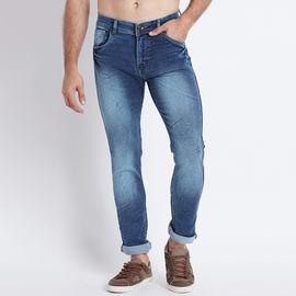 Stylox Men Slim Fit Mid Rise Blue Laser Washed Jeans-5014, 30