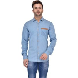 Stylox Men's Solid Casual Light Blue Shirt -SHT-ZPRK-LB, m