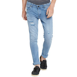 Stylox Men's Premium Stretchable Slim Fit Mid Rise Light Shaded Jeans-DNM-RGDLB-4072, 32
