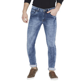 Stylox Men's Blue Washed Slim Fit Stretchable Jeans-DNM-BLU-4087-03, 36