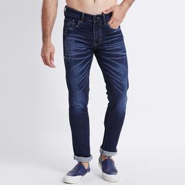Stylox Men Slim Fit Mid Rise Laser Washed Dark Blue Jeans-5211008, 32