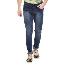 Stylox Men's Premium Skinny FIt Mid Rise Cleans Look Stretchable Blue Jeans-DNM-BL-4082-01, 32