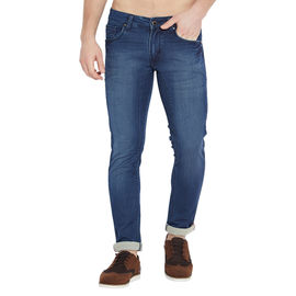 Stylox Men's Premium Stretchable Slim Fit Whisker Washed Blue Jeans-DNM-TLBR-4088-02, 36