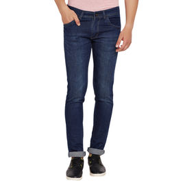 Stylox Men's Premium Stretchable Slim Fit Casual Wear Mid Rise Dark Blue Jeans-DNB-DB-4055, 28
