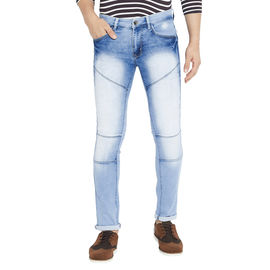 Stylox Men's Slim Fit Mid Rise Stretchable Cloud Washed Light Blue Jeans-DNM-CLDW-4117-01, 28