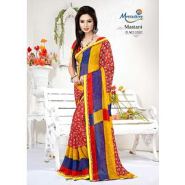 Meerashree Mastani Red Yellow Blue Modern Art Print Saree with Blouse