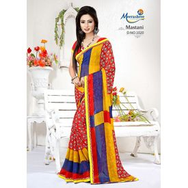 Meerashree Mastani Red Yellow Blue Modern Art Print Saree with Blouse