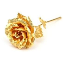 24Kt Gold Plated Foil Open Real naTural Rose with Genuinity Certificate Elegant Ethnic and best ever Valentine Gift