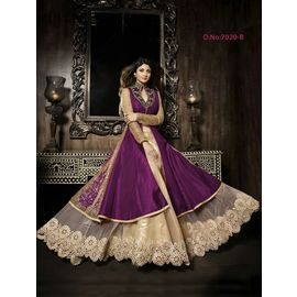 Designer Shilpa Shetty Original karma Purple Color Dress with Golden White Net