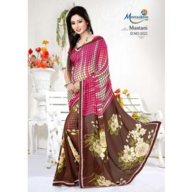 Meerashree mastani White Pink Checks and Brown White Flower Printed Saree with Blouse