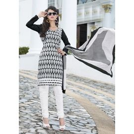 Stylish Daily Wear Black & White Design Cotton Salwar Suit with Dupatta