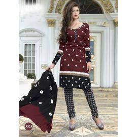 Pure Cotton Suits - Maroon with Black & White Design Churidar Salwar Kameez
